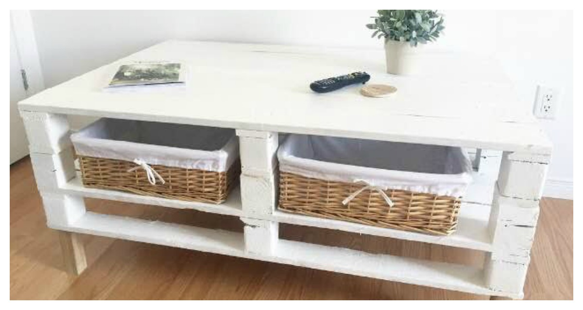 Diy table de salon en palettes de bois sarah couture - Table de salon palette ...